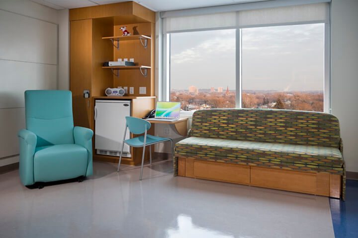 Colorful furniture in hospital room