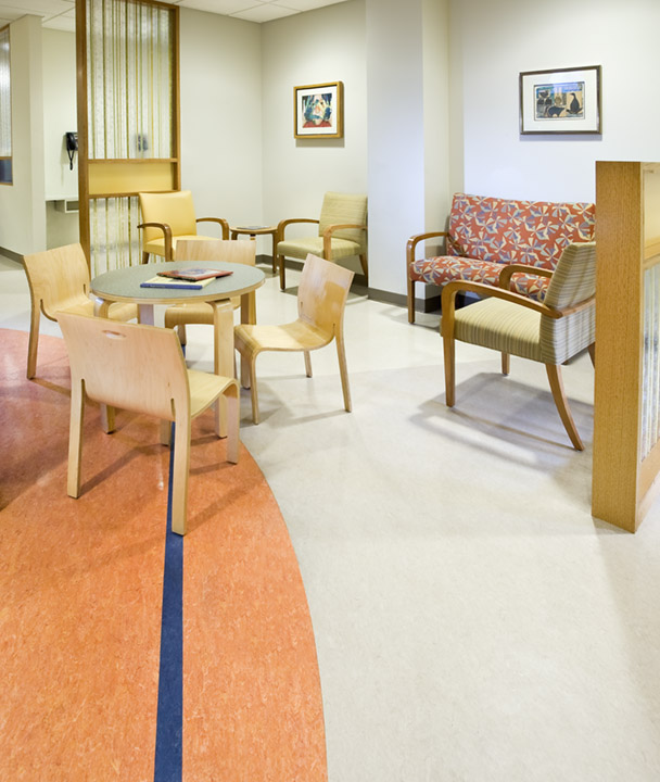 Waiting room of hospital showing child size furniture