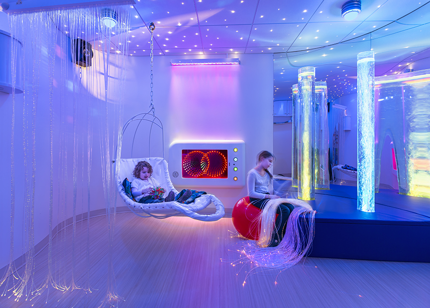 Snoezelen therapy room in children's pain clinic